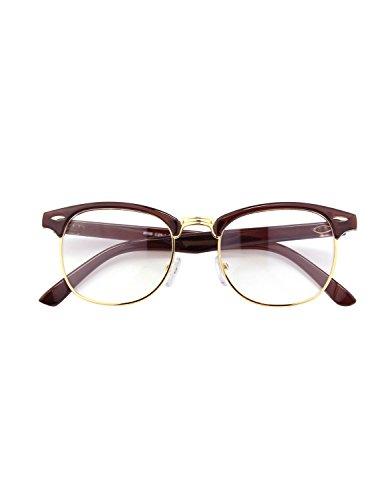 CGID 50er Jahre Retro Nerd Brille Halbrahmen Hornbrille Clubmaster Stil Rockabilly Streberbrille,Braun