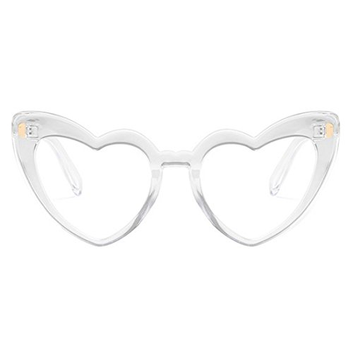 Aiweijia de UV400 Retro Gafas mujer Transparente Sunglasses Shaped Oversized lindo Heart sol Eyewear Moda frpfRnwqx5