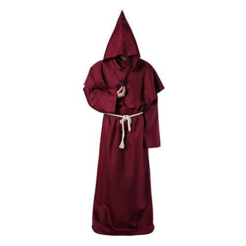 JK Disfraz de Monje, Bata Medieval para Amigo, con Capucha ...