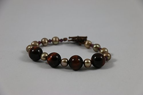 Red Tiger Eye and Freshwater Pearl Bracelet