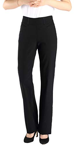 Vocni Women's Bootcut Stretch Elastic Waist Slim Fit Comfortable Pull on Dress Pants Full Ankle Length Trousers Black ()
