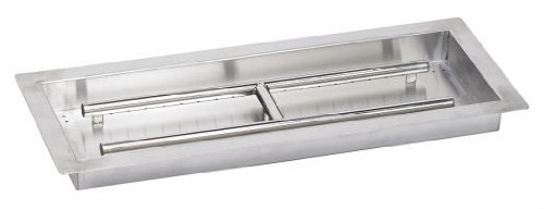 American Fireglass Stainless Steel Drop-In Fire Pit Pan and Burner, 24 by 8-Inch Inc SS-AFPP-24