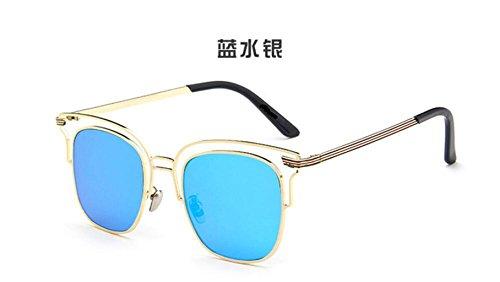 Mercury sol retro gafas gafas salvaje sol de de sol personalidad Blue brillante GLSYJ reflexivo gafas cuadro de gafas Metal LSHGYJ gTxvqHwAcz