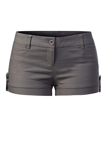 - Instar Mode Women's Juniors Body Enhancing Ripped Hole Mini Shorts L, Ipaw042 Grey