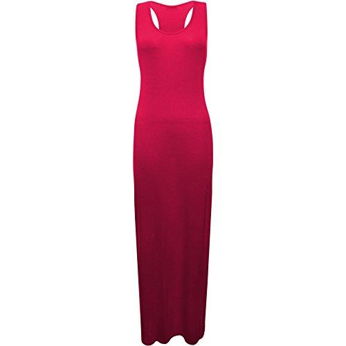 Fashion Wardrobe Womens Racer Back Vest Maxi Ladies Plain Sexy Casual Top Full Length Dress 8-14