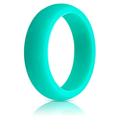 Womens Silicone Wedding Ring (Wedding Band) - Premium Edition - 5.5mm Wide, 2.5mm Thick - Super Strong Silicone (Teal, 7)
