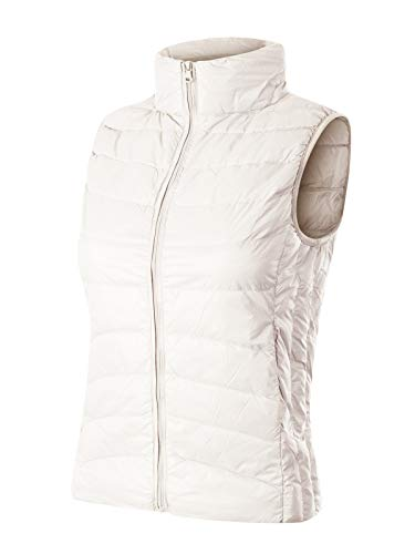 - Design by Olivia Women's Stand Collar Lightweight Padded Zip Up Vest Ivory L
