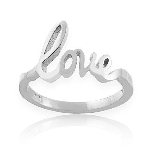 Cursive Love Promise Ring - Solid 925 Sterling Silver High Polish Love Script Statement Ring (Size 5)