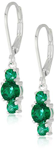Sterling Silver Created Emerald 5mm and 3mm Three Stone May Birthstone Leverback Dangle Earrings