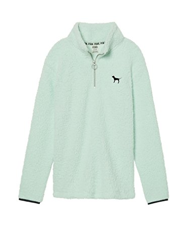 e7c08c2b5af VS PINK Victoria's Secret Pink New! Sherpa Boyfriend Quarter-Zip (Mint,  Small