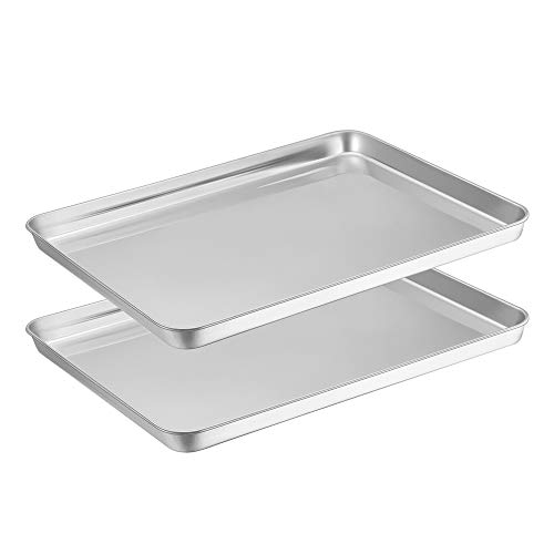 2, E-far Baking Pan Cookie Sheet Stainless Steel Baking Tray 16''x12''x1'' Rectangle Size, Rust Resistance & Easy Clean, Dishwasher Safe - 2 Pieces ()