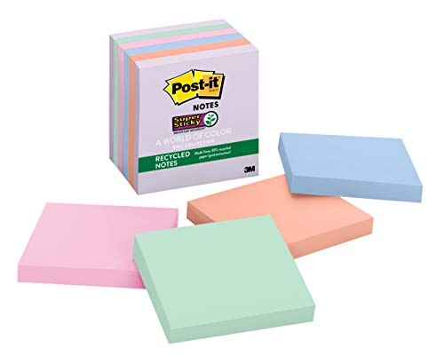 Pastel Colors Refill Notes - Post-it Recycled Super Sticky Notes, 2x Sticking Power, 3 in x 3 in, Bali Collection, 6 Pads/Pack (654-6SSNRP)