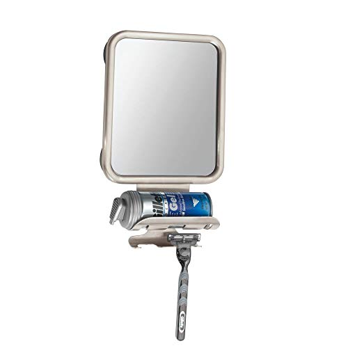 mDesign Large Modern Metal Suction Shaving Mirror Center for Bathroom Showers and Tubs - Holders for Shaving Cream and - Card Place Frame Curved Silver