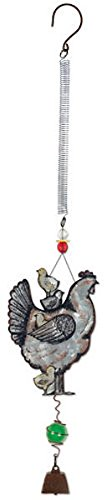 Sunset Vista Designs 92159 Bouncy Garden Decoration with Mini Cowbell, 11-Inch, Hen and Chicks