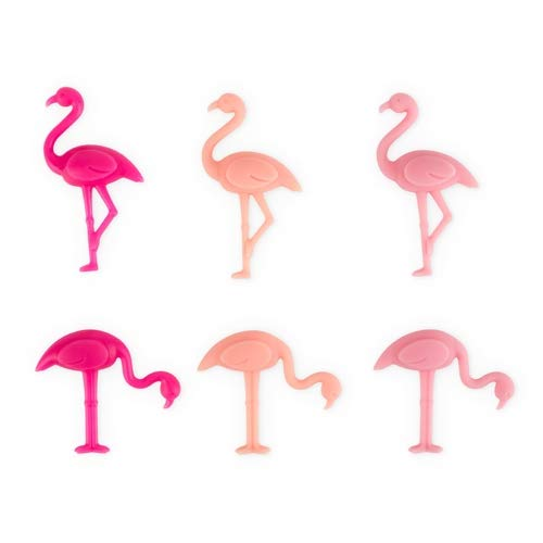 Drink Markers For Women 6pc Flamingo Silicone Wine Charm For Glasses - Set Of 12 (Sold by Case, Pack of 12) by True Fabrications