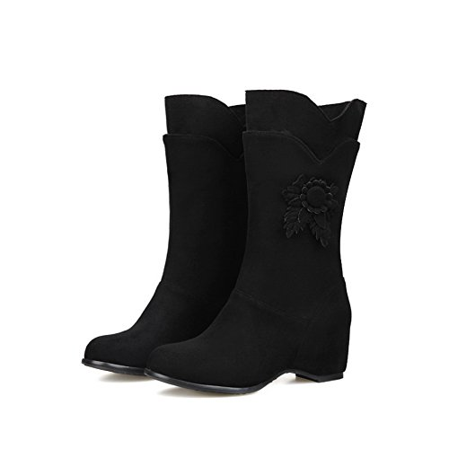 Black BalaMasa Ladies Bottom Thick Matching Color Frosted Embroidered Heel Boots TPTwzqUF