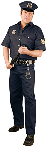 Male Policeman Costume (Policeman Adult Mens Costume, Charades, Black (Large))