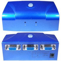 Electronic VGA Switch Box, Blue, 2 PC to 1 Monitor, VGA / HD15 (Hd15 Box Switch Electronic)