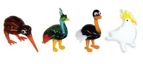 Looking Glass Miniature Collectible - Kiwi / Peacock / Ostrich / Cockatoo (4-Pack)