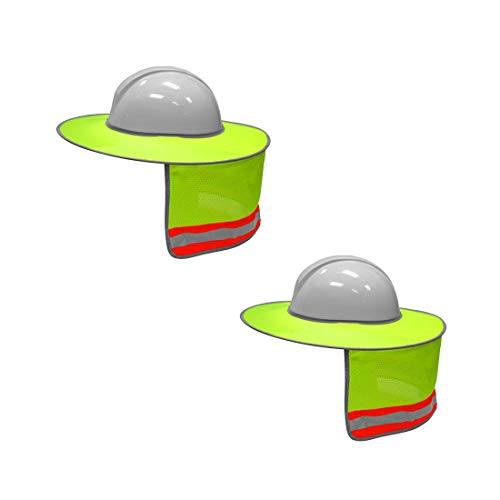 TWSafety 2 Pack Mesh Hard Hat Sun Shield Full Brim with High Visibility Reflective Strips Neon -
