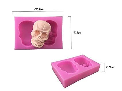 Molde de Silicona con diseño de Calavera 3D, para Fondant, azúcar, Arcilla,