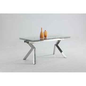 (Chintaly Butterfly Extendable Dining Table in Tempered Clear)