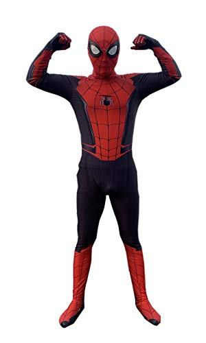 DAELI Into Spider-Verse Costume Miles Morales Costume (FAR from Home, XXL Suitable for 140-150cm Kids)