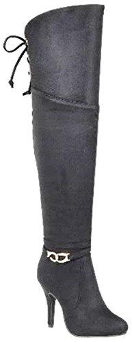 Black High Knee Boot Tassel Women's Ankle Buckle Back The Over Accent Shoes Heel DEV ZwRUOBqU