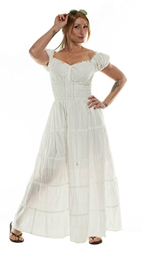 Renaissance Wench Costume Peasant Dress Boho Hippie Sundress White Plus Size (Plus Size Renaissance Wench Costume)