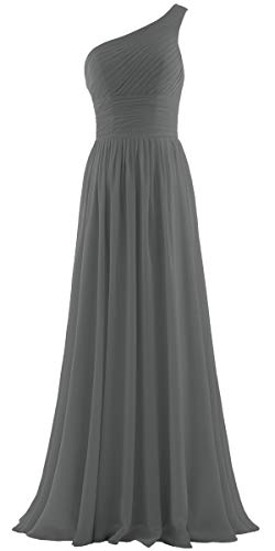 ANTS Women's Pleat Chiffon One Shoulder Bridesmaid Dresses Long Evening Gown Size 6 US Grey