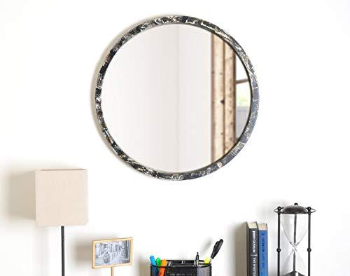 """BrandtWorks AZ-Mround2 Hand Painted 24.75"""" Round Mirror, 24.75 x 24.75, Black"""