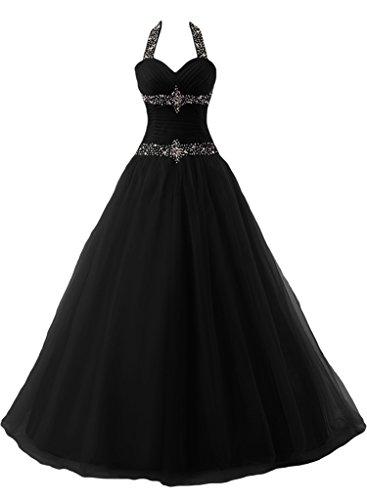 Linie Steine Liebling Promkleid Ivydressing Mit Damen Festkleid Abendkleid Schwarz Duchesse Neckholder Lang q1wyB7