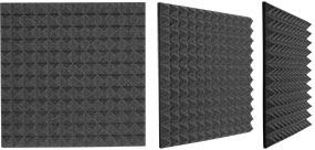 Three different views of a Auralex Studiofoam Pyramid Panel (2 foot x 2 foot)