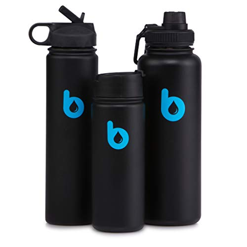 binz Double Wall Vacuum Insulated Stainless Steel Sports Water Bottle - BPA Free, Leak Proof, Keeps Drinks Cold for 26 Hours, Hot for 13 Hours (Black/Blue, 18 oz)