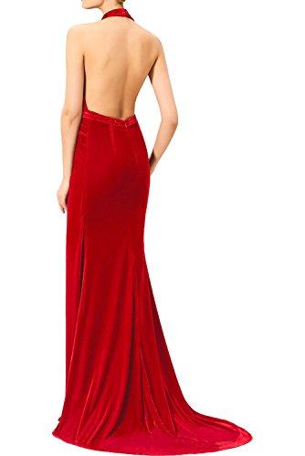 Attrktiv mit Lang Abendkleider Royalblau Tanzenkleider Damen Ivydressing Schlitz Promkleider Neckholder Cocktailkleider Samt Partykleider Sp1zqvx5