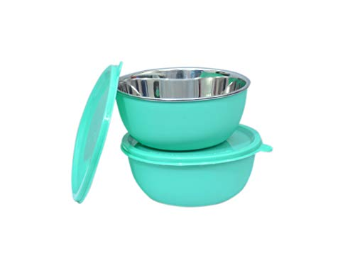 LEOPINE Microwave Safe Stainless Steel Plastic Coated Green Bowls  Set of 2  14 cm Each