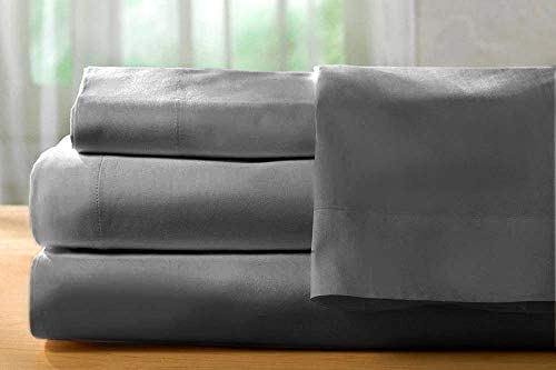 RoyalLinenCollection Jupe de lit 1 pièce Gris foncé massif Euro Taille XL 100 % coton égyptien 600 fils Poche extra profonde 15 cm