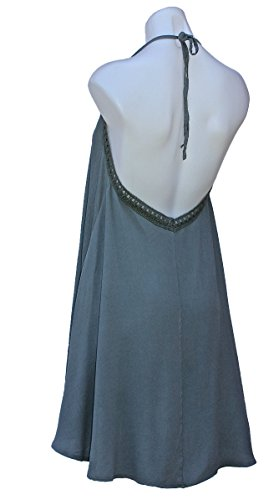 Crinkled Silk Tunic (Terra Nomad Women's Girls Halter Summer Sun Dress - Sage)