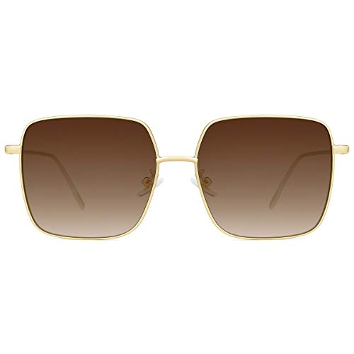(Slocyclub Fashion Oversized Square Shade Sunglasses for Women Flat Mirror Lenses)