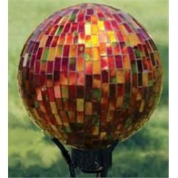 Carson Home Accents Art Glass Garden Red Hues Glass 10-inch Hand-painted Mosaic Gazing Ball