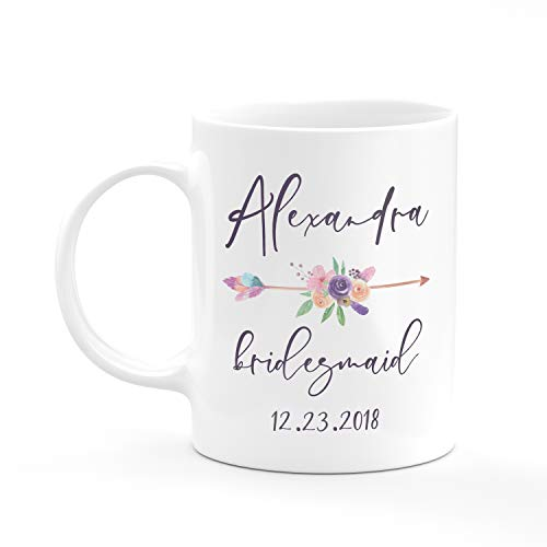 Personalized Bridesmaid Coffee Mug Gifts with Free Customization - 11oz & 15oz Ceramic Mugs - Wedding Gifts, Party Favors, Bridesmaid Gifts, Housewarming Gifts, Bachelorette Gifts - Design 3