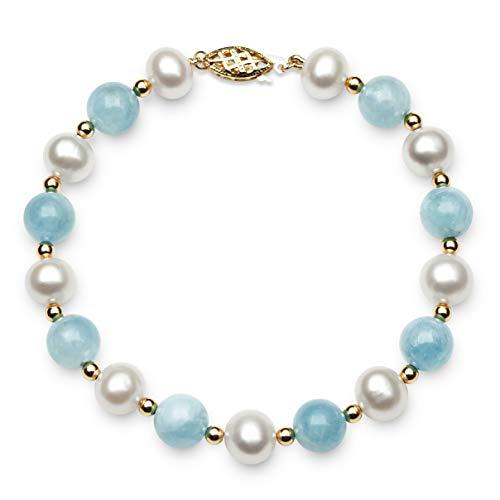 - 14k Gold Cultured Freshwater Pearl and Natural Aquamarine Gemstone Bracelet, 7.5