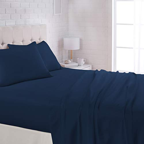 "AmazonBasics Lightweight Super Soft Easy Care Microfiber Sheet Set with 16"" Deep Pockets - Queen, Navy Blue"