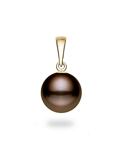 14k Yellow Gold AAAA Quality Classic Cocoa Freshwater Cultured Pearl Pendant (8.5-9mm) (Necklace Pendant Fw Pearl)