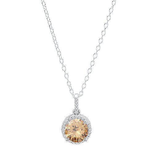 Dazzlingrock Collection 14K 6.5 MM Gemstone White Diamond Ladies Halo Pendant Silver Chain Included , White Gold