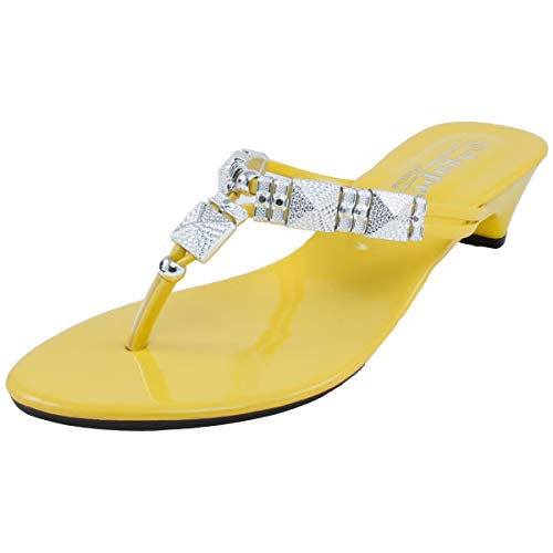 Agape HERO-56 Metallic Charms Thong Sandal Yellow 10