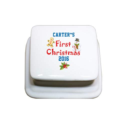 (Style In Print Personalized Custom Text Christmas 1st Christmas Gingerbread Man Snowman Porcelain Treasure Box Porcelain Jewerly Box - Square)