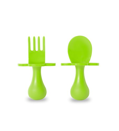 Grabease First Self Feeding Utensil Set of Spoon and Fork for Toddler and Baby. BPA free. To-go pouch (green)