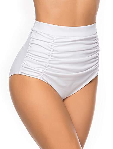 Women's Retro High Waisted Bikini Bottom Ruffle Tummy Control Tankini Briefs Swim Shorts S White