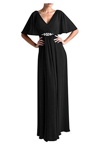 VaniaDress Women V Neck Half Sleeveles Long Evening Dress Formal Gowns V265LF Black US18W from VaniaDress